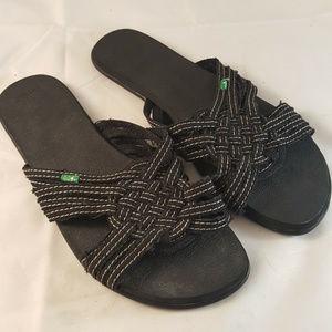 Sanuk Sandals Slides Black Womens 9